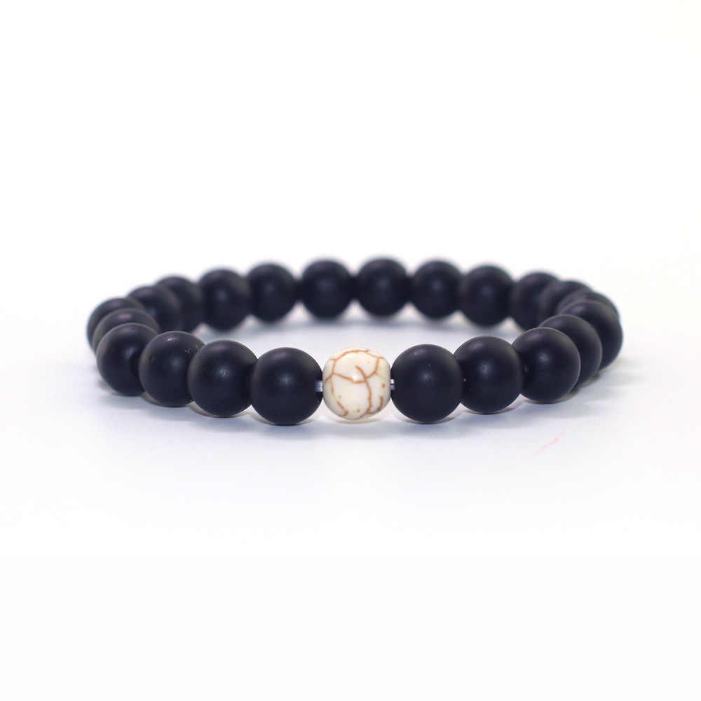 """2018 טבעי אבן שחור מט לבן אורן בעבודת יד 8 מ""""מ אבן חרוזים צמיד גברים נשים תכשיטים זוג צמידים אלסטיים"""