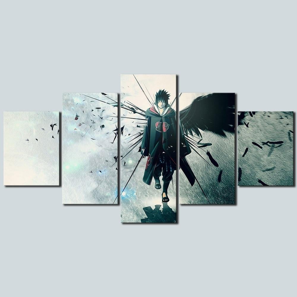 5 Piece Anime Naruto Uchiha Sasuke Poster Canvas Painting Wall Art Home Decor 3