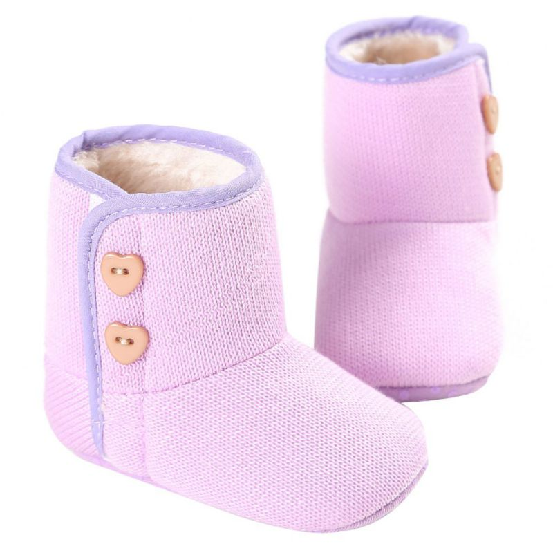 Baby Shoes Winter Warm Newborn Girl Baby Prewalker Shoes Boots Infant Toddler Princess Bebe Crib Snow Knitting Booty