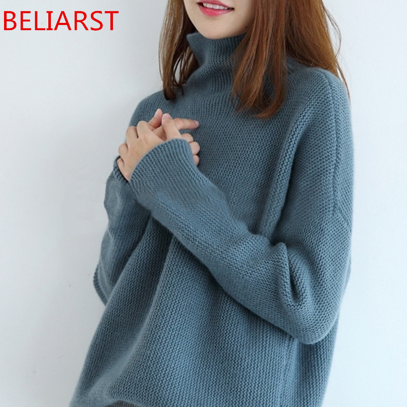 BELIARST 2019 Autumn and Winter New High-Necked Cashmere Sweater Woman Loose Thick Pullover Wild casual Knitted Sweater