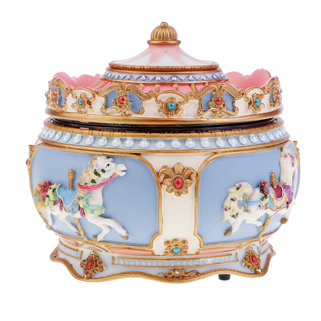 Carousel Music Box Colorful Led Musical Wedding Birthday Gift Let It Go
