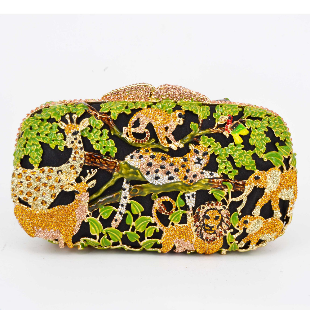 Ladies Purse Clutch-Bag Forest Green Chain Evening-Bag Wedding Luxury And Party