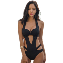 2017 New Summer One Piece Swimwear High Cut Out Black Bodysuit Beachwear Tassels Solid Sexy Monokini Ladies Push Up Bathing Suit