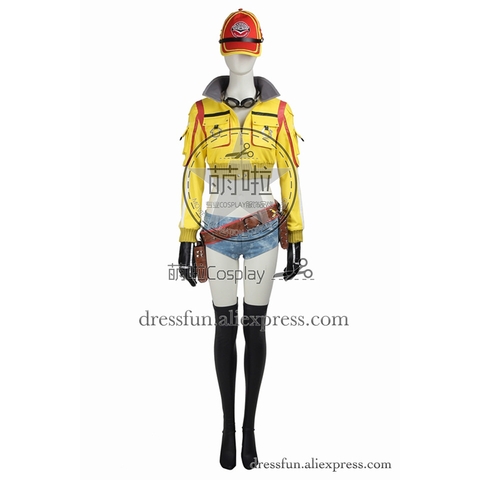 Final Fantasy XV Cosplay Costume Cindy Aurum Costume Yellow Jacket Uniform Casual Wear Outfits Full Set Party Halloween