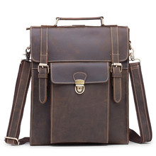 Crazy Horse Men's Vintage Retro Backpack Genuine Leather Casual Travel School Office Business Shoulder Bag For Man Male 2106 women genuine real cow leather backpack shoulder bag crocodile alligator school book travel daily casual punk rock vintage retro