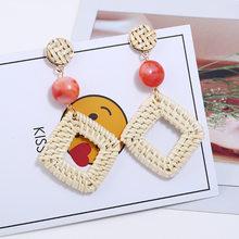 c5730bee6aaa8 Cuadrado hueco de mimbre tejido multicapa pendientes para las mujeres  resina geométrica bohemio pendientes joyería de boucle d o.