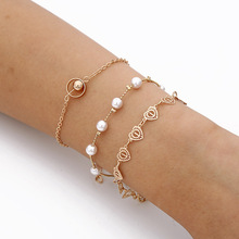 Fashion Multi-layers Bracelets & Bangles Gold color Heart Shape Bead  Women Charm Pearl Party Wedding Jewelry Boho