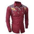 2016 Camisas de Los Nuevos Hombres de Los Hombres de Lujo Camisa de Marca Para Hombre de Esmoquin Rojo Impresión Fina Camisa de Manga Larga de Los Hombres Del Diseñador Camisas de vestir