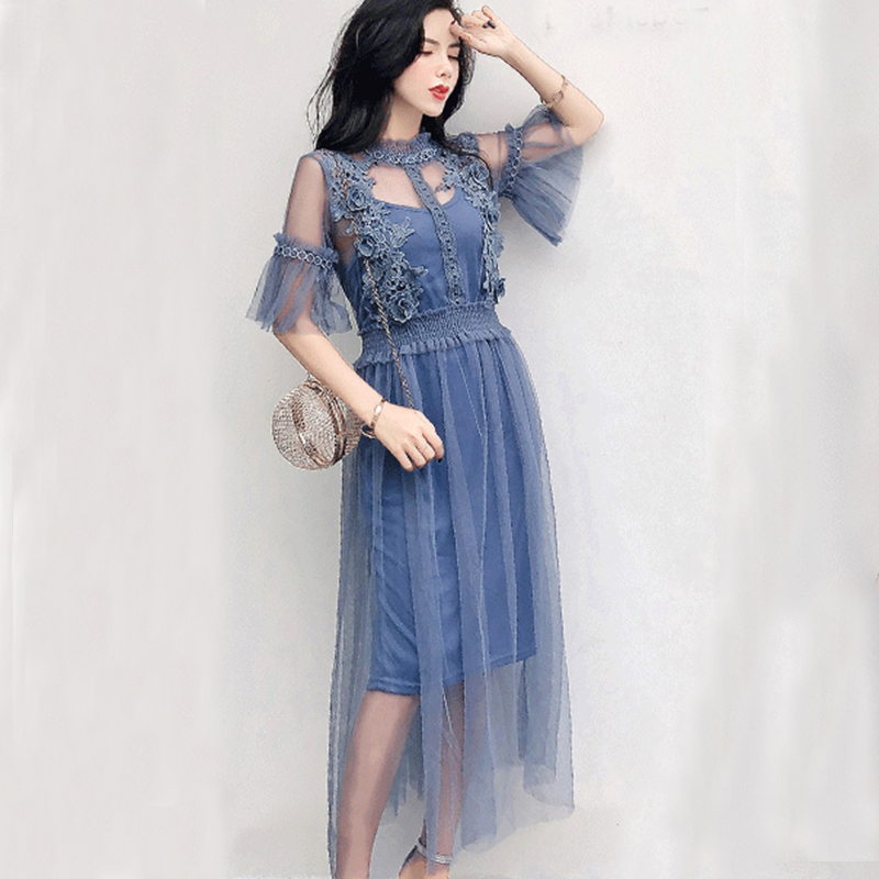 f9abd861ad4 2018 Summer Lace Dress Women Flare Sleeve Hollow Out Sexy Party Dress Women  Vintage Plus Size