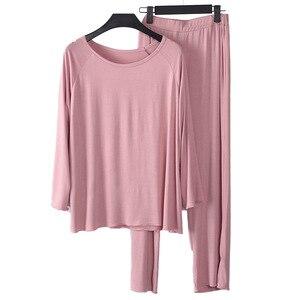 Image 4 - Женская пижама, комплект из двух предметов, Женский мягкий размер плюс, эластичные повседневные свободные костюмы с длинными рукавами, пижамы для женщин, домашние костюмы shein