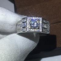 100 Real Soild 925 Sterling Silver Fashion Man Ring Round 1ct Cz Diamond Ring Engagement Wedding