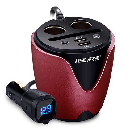 Car Cigarette Lighter Power Adapter with Dual USB Port Cup Shaped Car Charger Splitter with Voltage