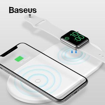 BASEUS 2 In 1 Wireless Charger Pad untuk Apple Watch 4/3/2/1 Upgrade Versi Cepat pengisian Nirkabel untuk iPhone 8 X Max Samsung S9