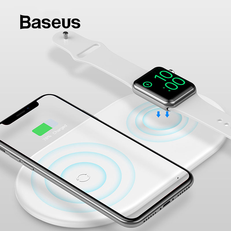 Baseus 2 in 1 Wireless Charger Pad For Apple Watch 4/3/2/1 Upgrade Version Fast Wireless Charging for iPhone 8 Xs Max Samsung S9
