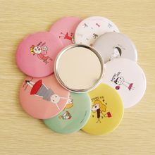 Portable Paper+Metal+Mirror Cute Cartoon Hand Pocket Cosmetic Mirror Round Lady Girl Mini Outdoor Party Makeup Mirror Decor(China)