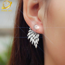 angle wings earrings for women double sided stud fashion jewelry aros pendiente brincos boucle doreille oorbellen