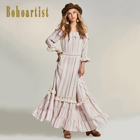 Bohoartist Apparel Long Women Dress Summer Pink Tassel Backless Zipper Slash Neck Flare Sleeve Bohemian Elegant