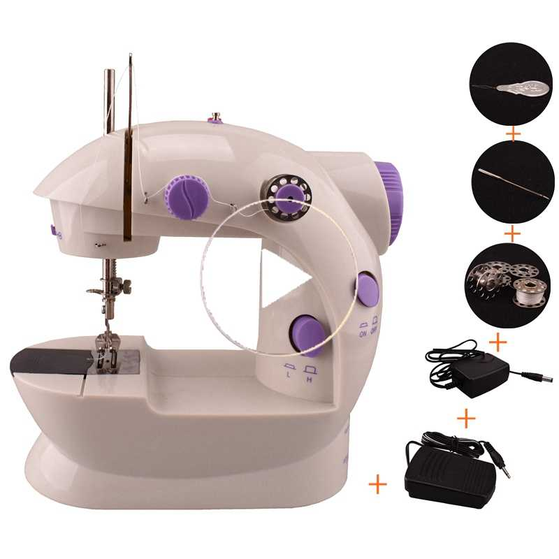 QUANFANG Genuine sewing machine electric household handheld multi-function small mini two-wire two-speed LED