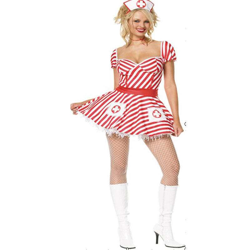 White Nurse Uniform Temptation Role Play Babydolls Women Erotic Outfits with low cup short classic nurse dress 4642
