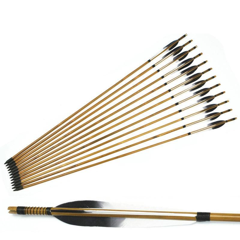ჱ12x flechas de bambú hechas a mano Turquía pluma para 20-50lbs ...