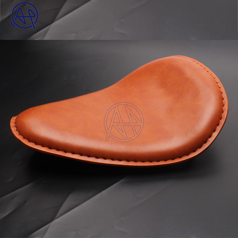 Motorcycle Retro Leather Old School Solo Saddle Seat Brown for Cafe Harley Custom Chopper Bobber