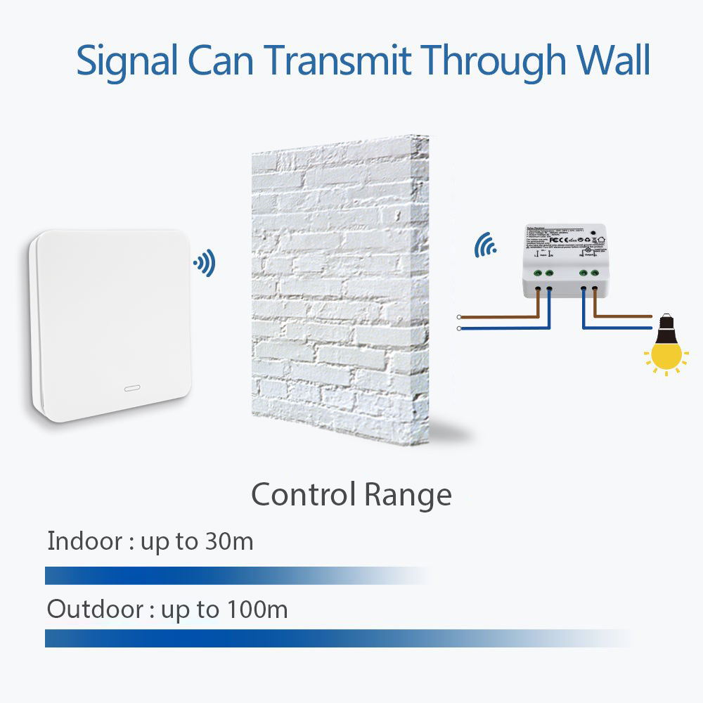 Wireless Switch Kinetic Self Powered Wall Switch No Battery Needed Lighting Remote Control up to 30m No Wire Easy to Install in Switches from Lights Lighting