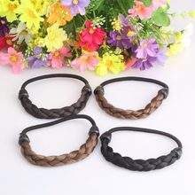 New Korean Fashion Synthetic Wig Hair Ponytail Holders Hair Braids Rubber Scrunchy Girls Elastic Hair Band(China)