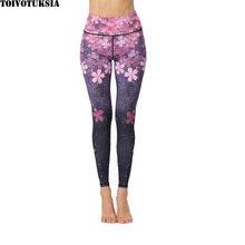 TOIVOTUKSIA High Waist Fitness Leggings Floral Print Casual Leggins New Fashion Polyester Spandex Sexy Slim Women