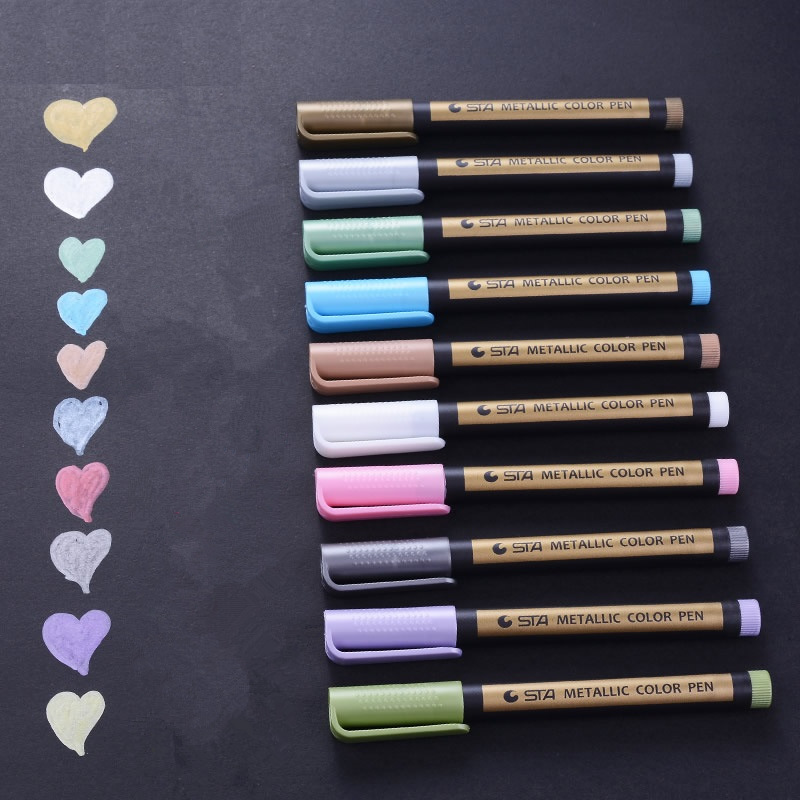 10 Pcs/Lot Soft Head Metallic Pen 2mm Water Based 10 Color Marker For Black Brown Card Drawing Stationery School Supplies F606