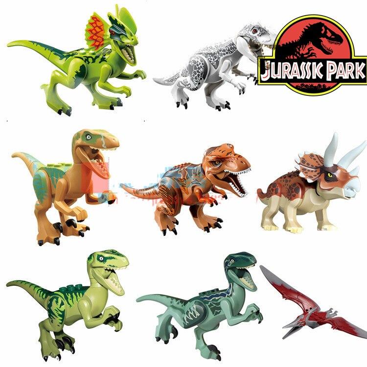 8pcs <font><b>Jurassic</b></font> <font><b>World</b></font> Park Movie Dinosaur Triceratops <font><b>Tyrannosaurus</b></font> <font><b>Rex</b></font> Velociraptor Minifigures Model Building Blocks Kids Toys