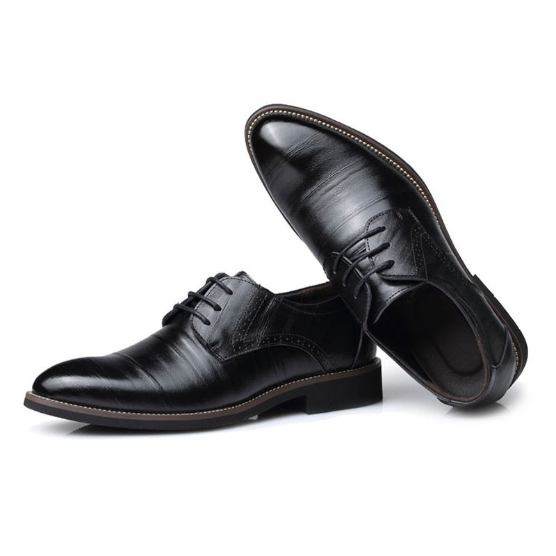 Genuine Leather Men Oxford Shoes Dress Office Simple Business Flats Lace Up Pointed Formal Of Male H11 35 In From On