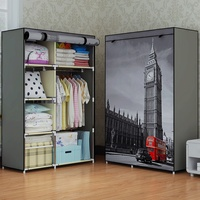 Fashion Design DIY Non Woven Anti Dust Reinforced Steel Frame Easy Disassembly Combination Wardrobe Storage Folding