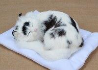 simulation white&black sleeping cat model ,24x20cm plastic&furs handicraft toy Xmas gift w5717