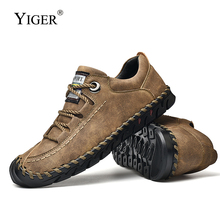 YIGER New Mens Loafers Leather Man Casual shoes Lace-up Leisure Men tooling mens outdoor 2019 Spring  0245