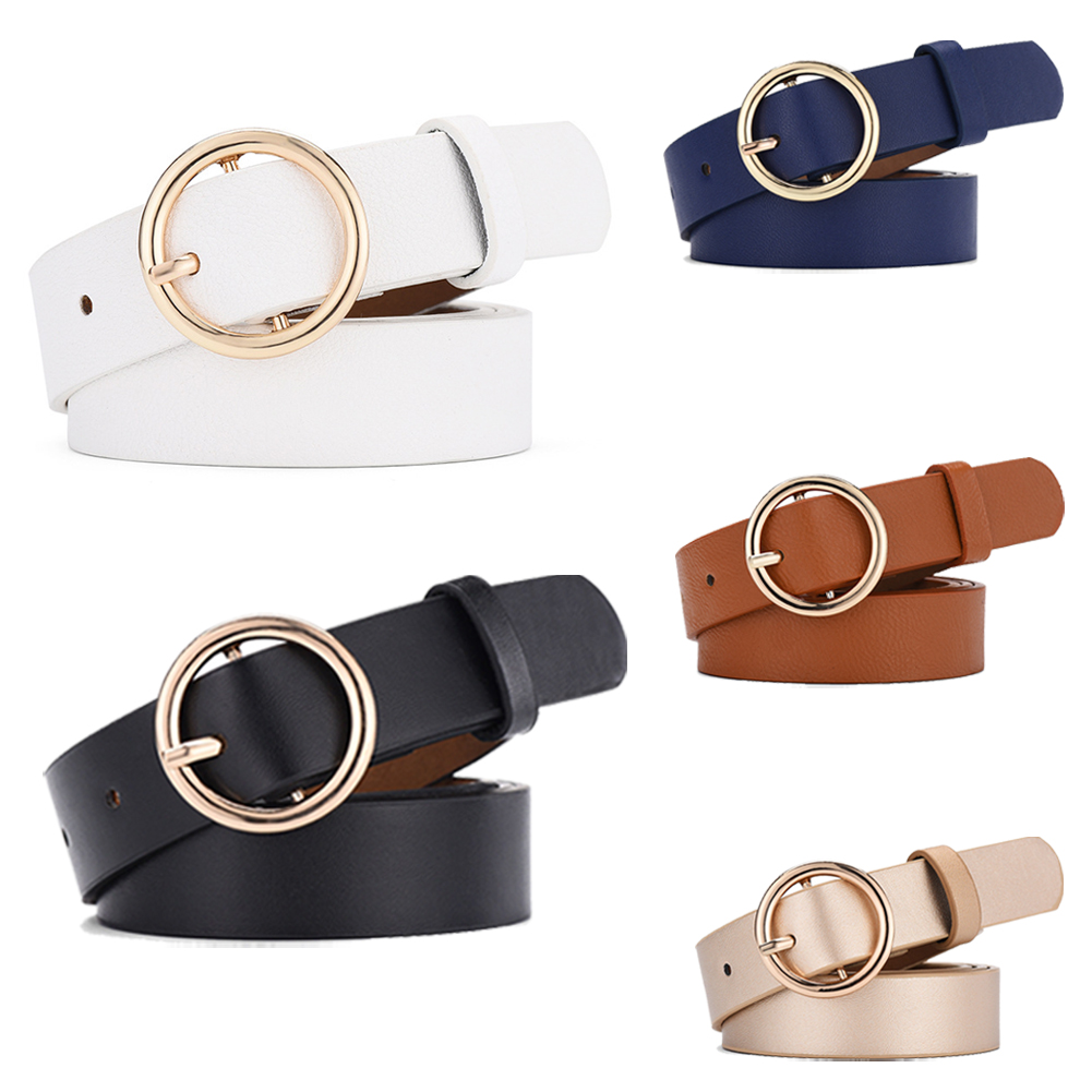 Fashion Casual Women Round Buckle   Belt   PU Leather Waistband Lady   Belt   Vintage 1PC