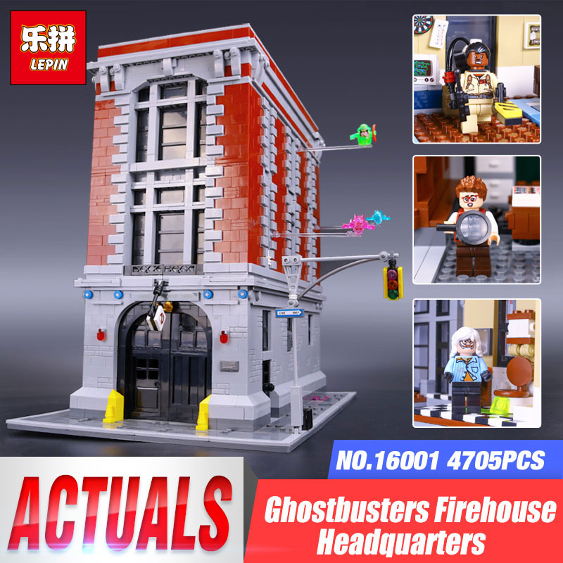2017 New LEPIN 16001 4705Pcs Ghostbusters Firehouse Headquarters Model Educational Building Kits Model set brinquedos 75827 4695pcs lepin 16001 city series firehouse headquarters house model building blocks compatible 75827 architecture toy to children
