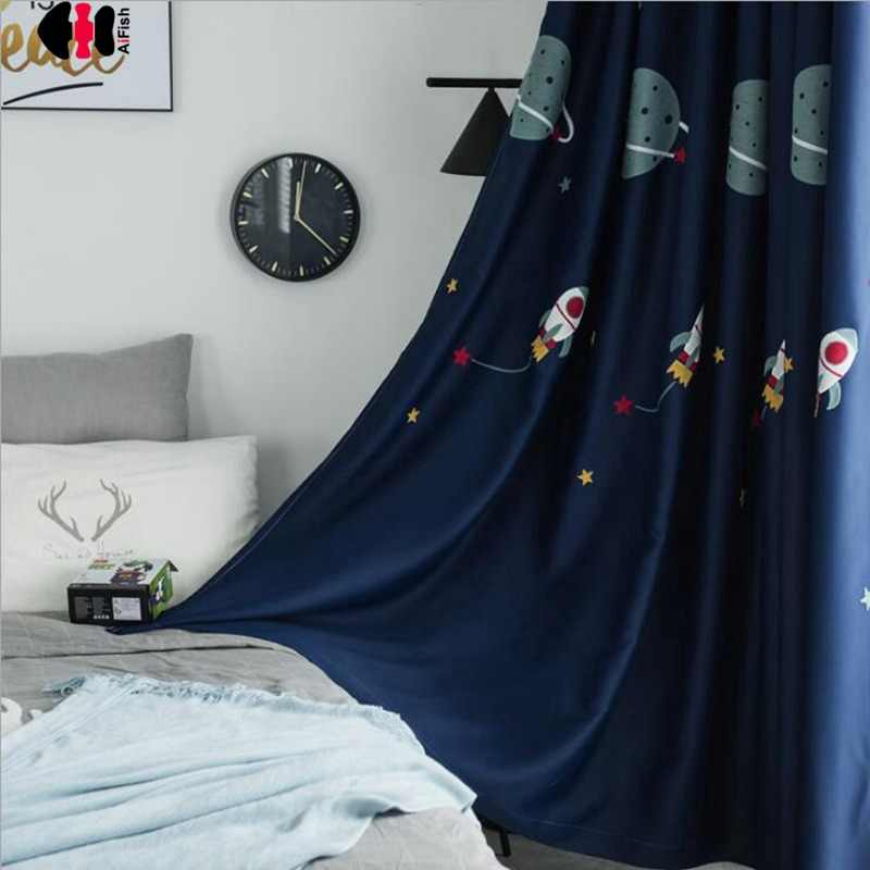 Cartoon Spaceship Embroidered Curtain Blackout Outer Space Boys Children Kindergarten Classroom Bedroom Window Drapes JS02C