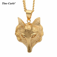 2017 New Arrive Stainless Steel Fox Face Head Pendant Gold Tone Necklace Hip Hop 3D Animal