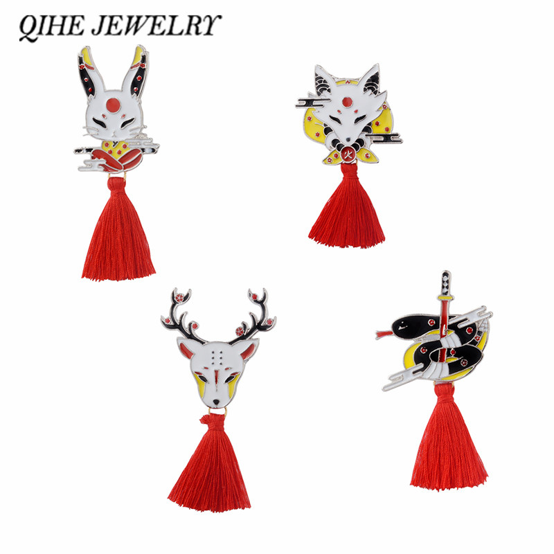 QIHE JEWELRY Kitsune Pin Japanese Deer Rabbit Snake Fox kabuki Ninja Mask with Red Tassel Brooches Badges Lapel pin ヒステリック ミニ 高 画質