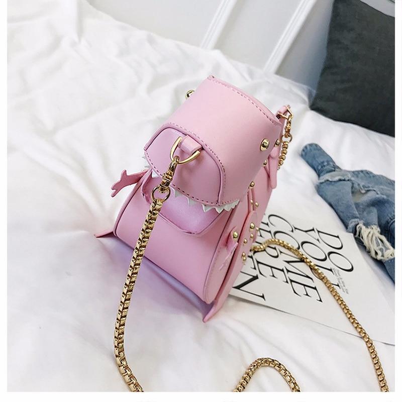 Модная новинка, маленькая дизайнерская женская сумка через плечо с динозавром, Женская милая сумка-мессенджер с заклепками, Мультяшные сумки через плечо для девочек