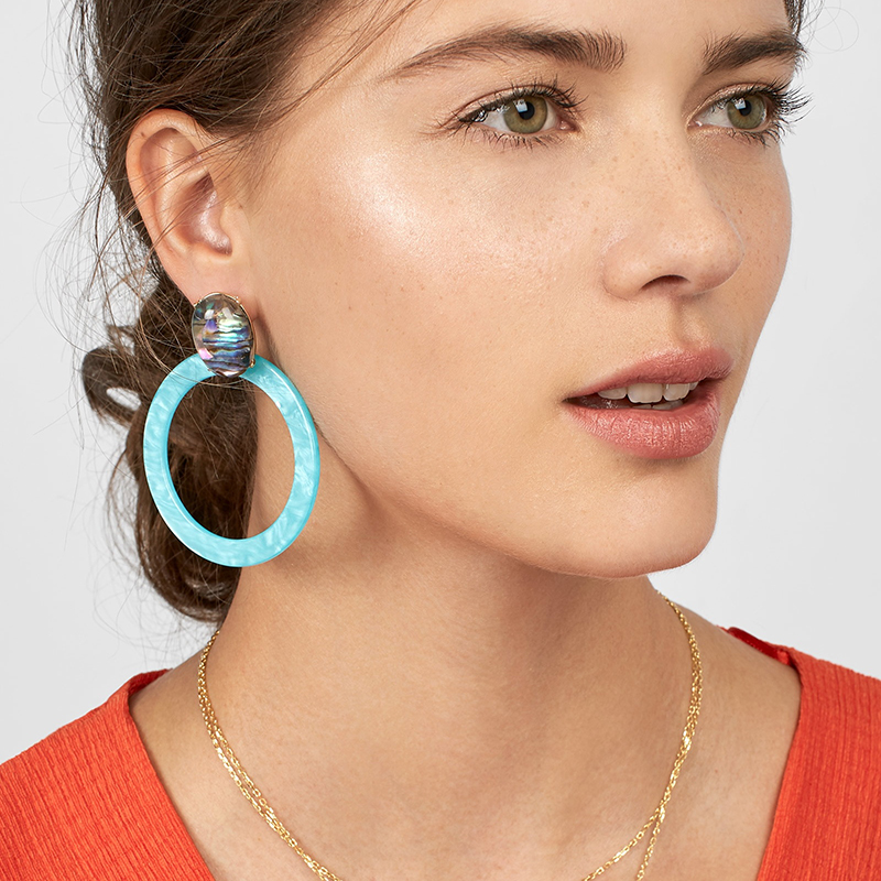 Dvacaman 2018 Fashion Big Round Resin Drop Dangle Earrings Women Semi-Precious Statement Earrings Bamboo Love Gifts Jewelry AI94