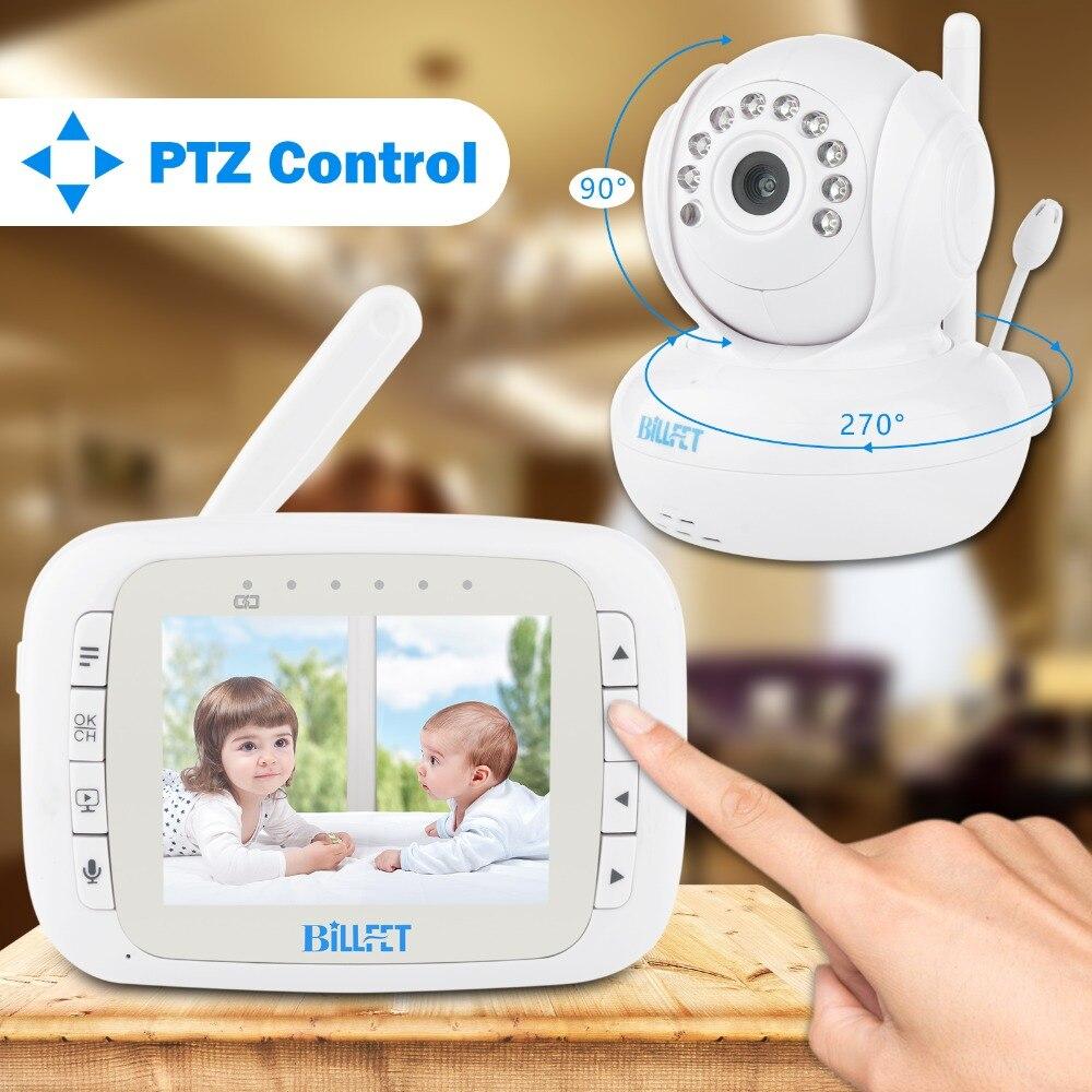 À distance Rotation 3.5 pouces Numérique Sans Fil Bébé Moniteur Vidéo Caméra IR Nuit Vision Berceuse Vidéo Nounou caméra de surveillance batterie