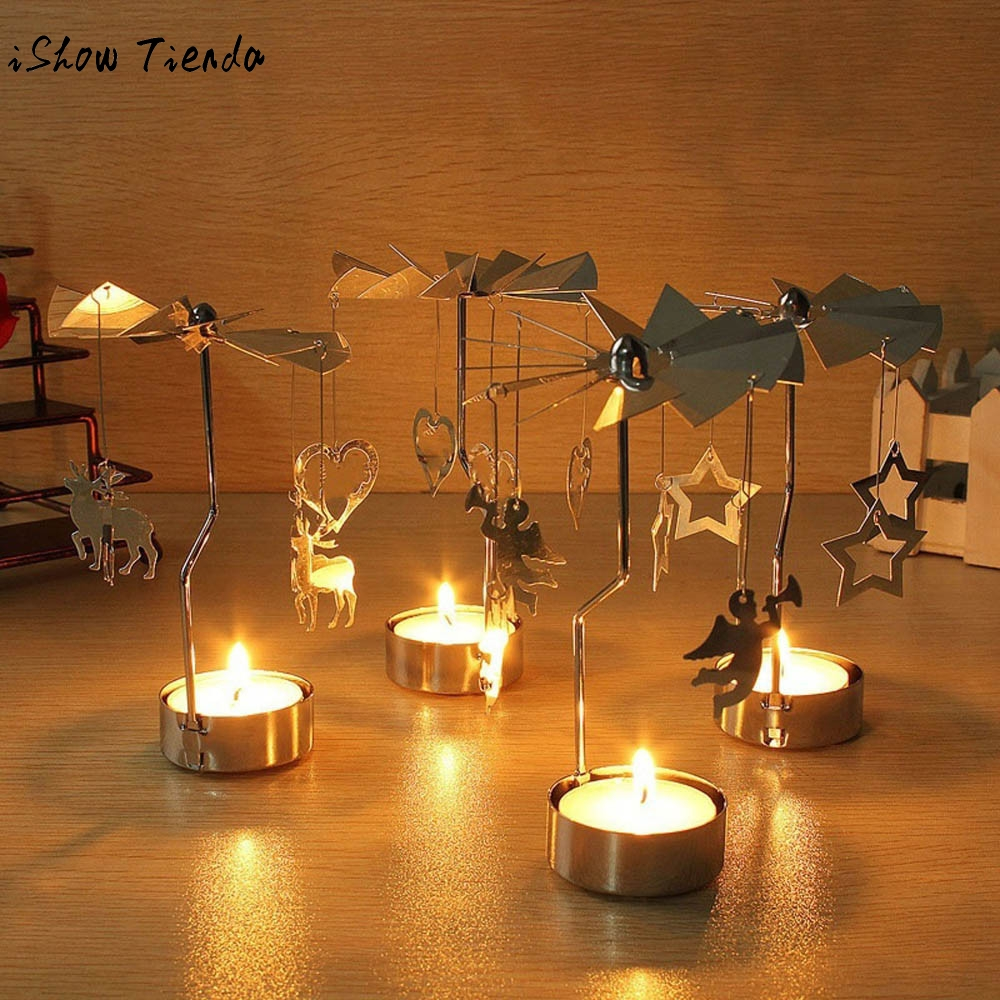 Christmas rotary spinning tealight candle metal tea light for Home decor gifts