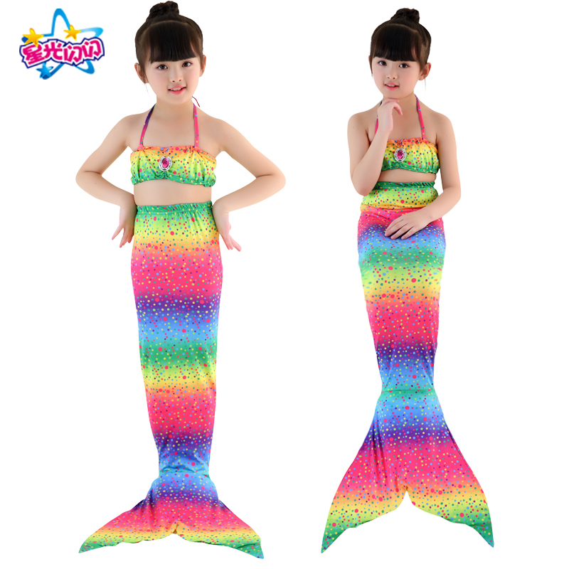 HOT!3PCS/Set Children's diamond swimsuit Mermaid Tail With Monofin Fin Girls Kids Swimsuit Mermaid Tail Costume for Girls 3Y-12Y