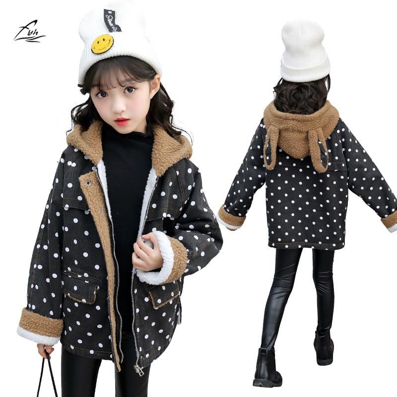 FYH Girls Clothing Winter Girls Lovely Hooded Denim Coat Polka Dot Kids Thicken Outerwear Children Warm Jean Jacket with Fleece цена и фото