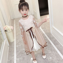 Kids Lace Dress Bow Sash Baby Birthday Party Dresses Girls Clothes Dress children's clothing