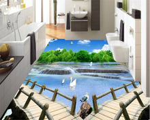 beibehang Custom Fashion Wallpaper indoor bathroom kitchen living room river woods 3D flooring tiles wallpaper for walls 3 d free shipping 3d outdoor flooring painted cartoons anti skidding thickened flooring mural living walls boy room wallpaper mural
