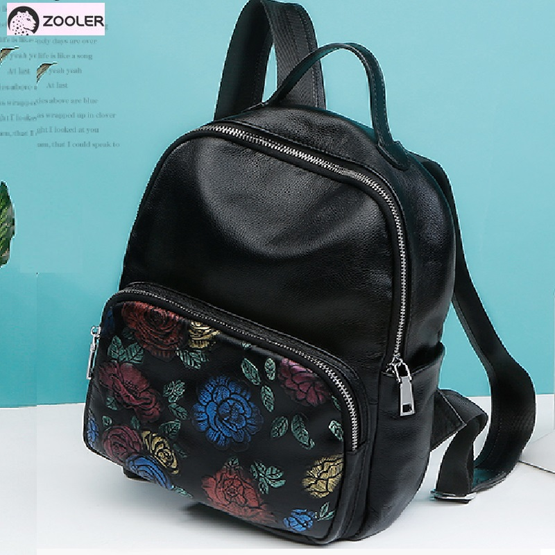 High quality Genuine leather bags women Zooler Backpack women Cow leather bag travel tote bags backpacks Girls School Bags #5203