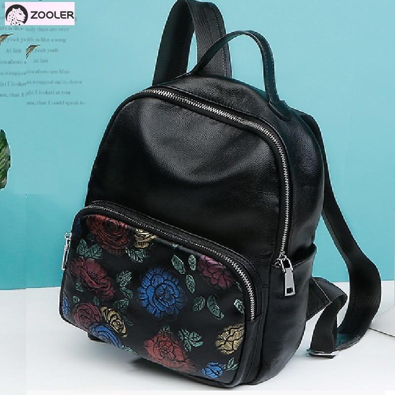 Високо качество на естествена кожа чанти жени Zooler раница жени крава кожени чанти пътуване големи стоки чанти раници момичета училище чанти # 5203  t
