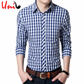 Uni-Splendor 2017 Autumn New Classic Long Sleeve Plaid Men Shirt Slim Fit Mens Check Cotton Shirts Casual Dress Shirt 4XL YN673
